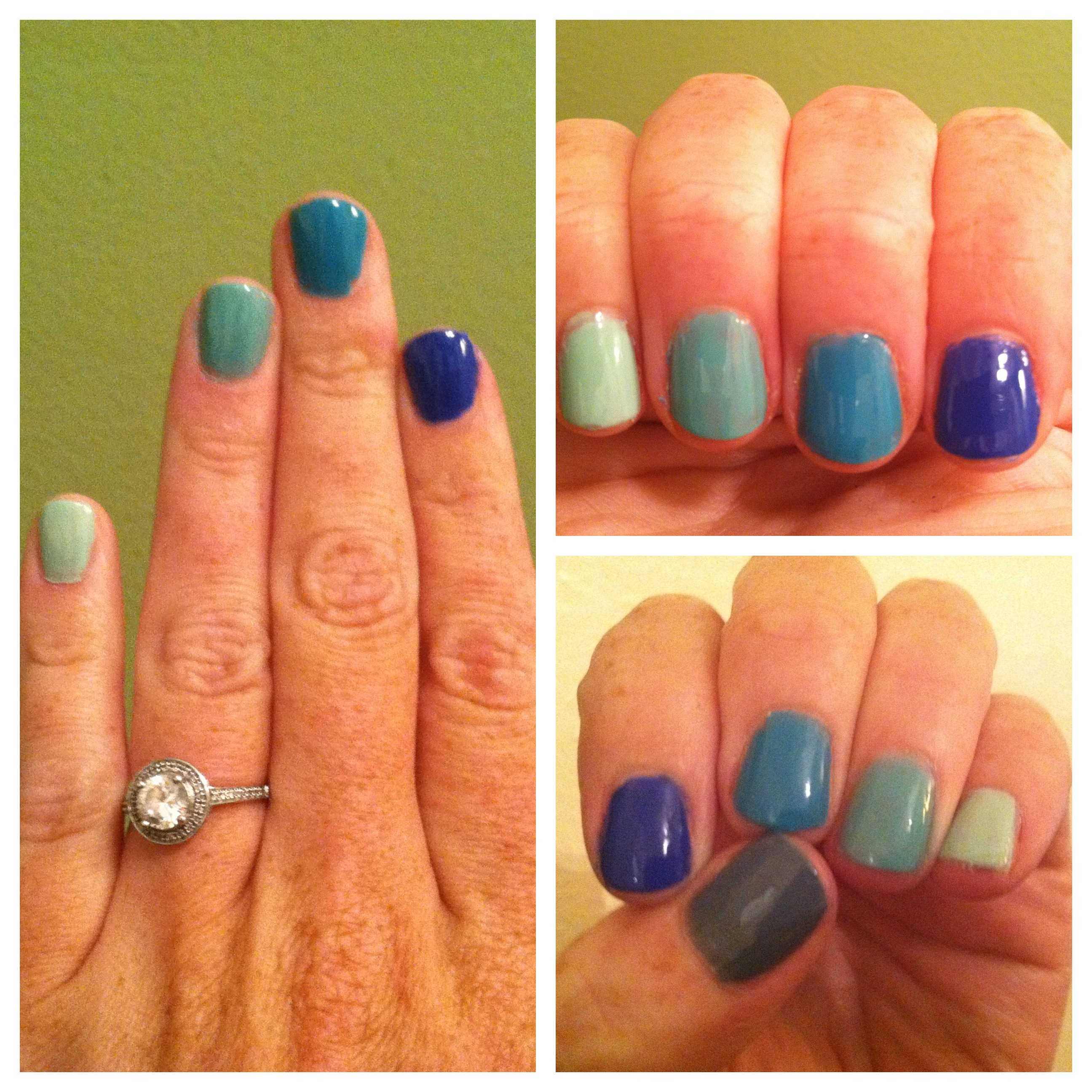 Ombre Blue Green Nails Sara Alana